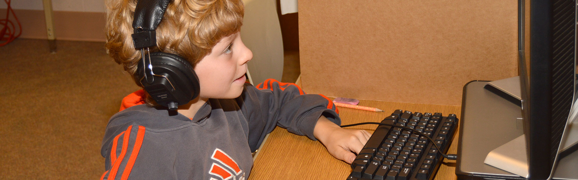 Sunman Elementary School Student Working with a Computer